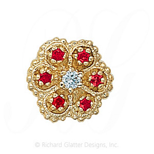 GS080 D/R - 14 Karat Gold Slide with Diamond center and Ruby accents